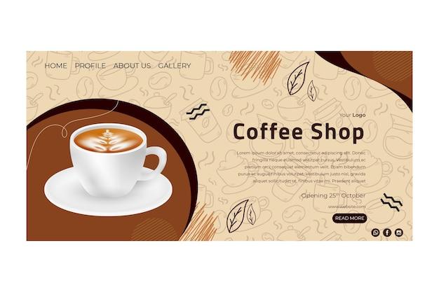 Pagina di destinazione della caffetteria Vettore Premium