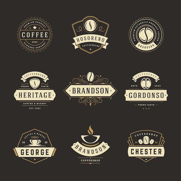I modelli di progettazione dei loghi della caffetteria hanno messo l'illustrazione Vettore Premium