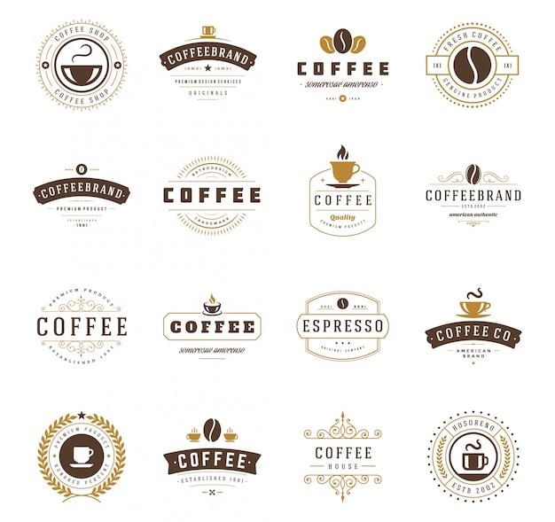 I modelli di progettazione del logos della caffetteria hanno messo l'illustrazione di vettore Vettore Premium