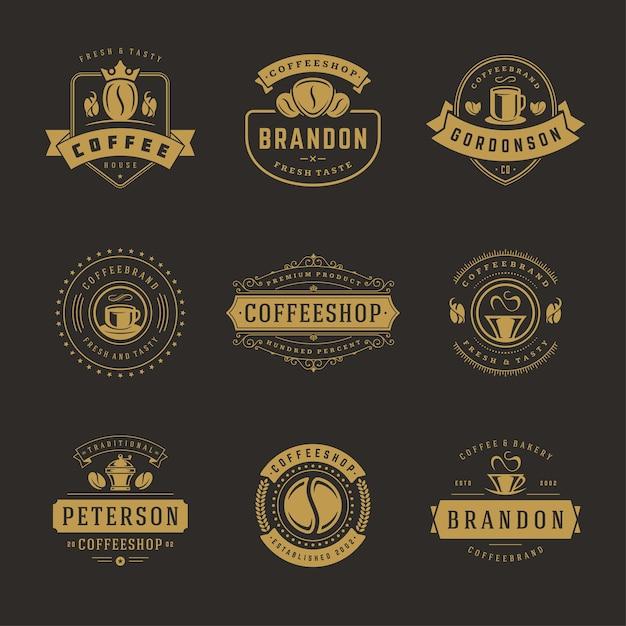 Insieme di modelli di progettazione di loghi di caffetteria Vettore Premium