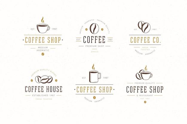 Collezione di logo retrò caffetteria Vettore Premium