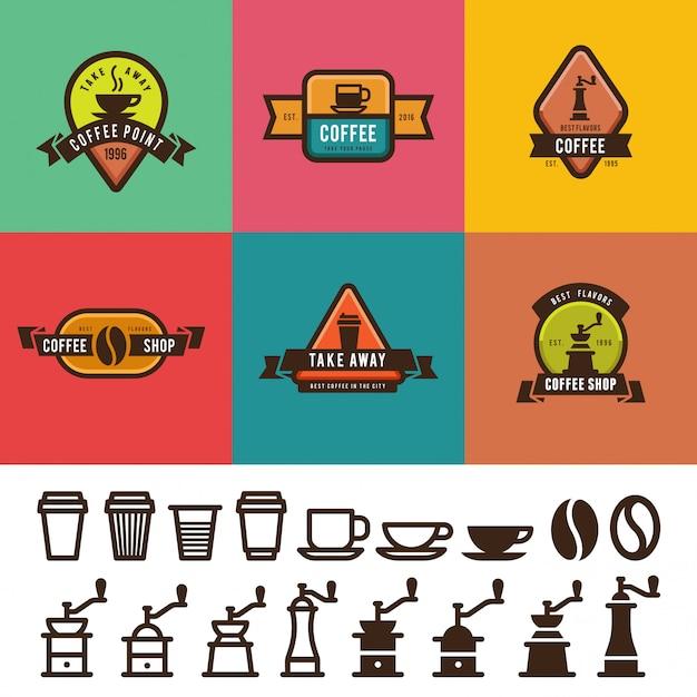 Progettazione di etichette d'annata della caffetteria. modelli di loghi distintivi con icon pack Vettore Premium