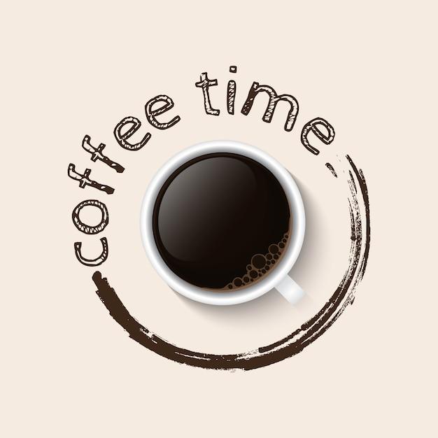 Poster di tempo del caffè Vettore Premium
