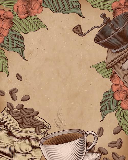 Illustrazione di stile xilografia caffè sul poster di carta kraft Vettore Premium