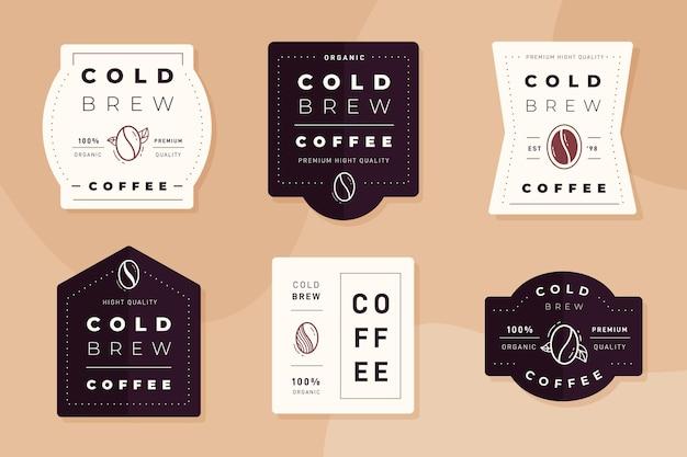 Collezione di etichette di caffè freddo brew Vettore Premium
