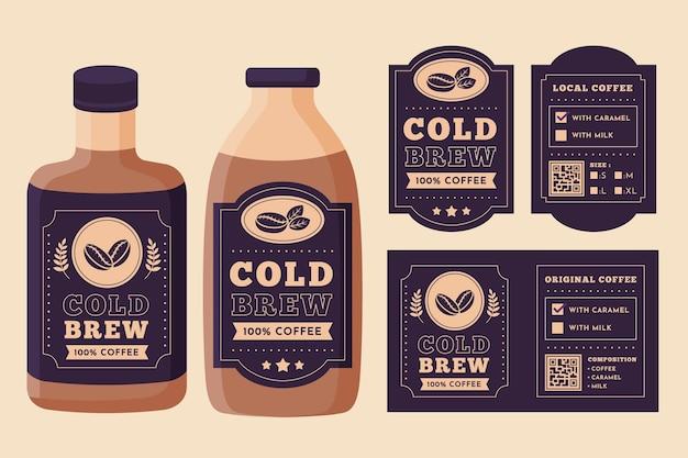 Progettazione di etichette per caffè freddo Vettore Premium