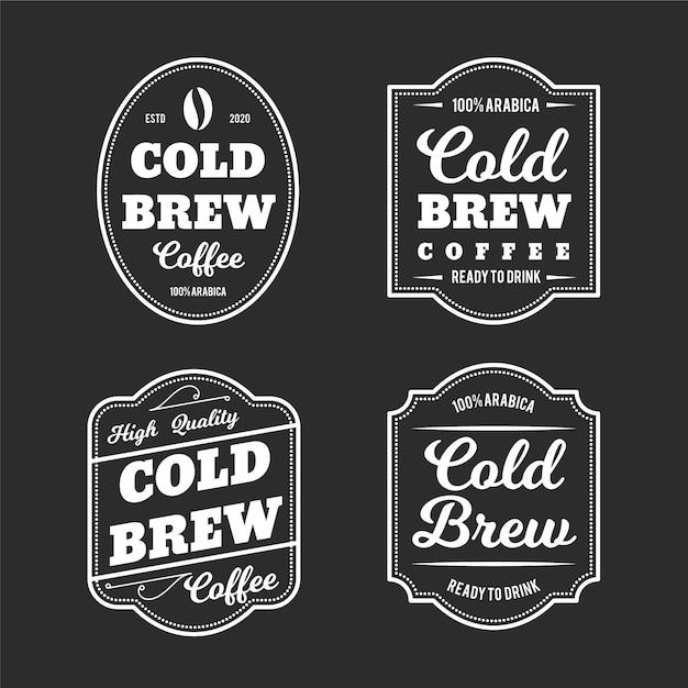 Stile di etichette di caffè freddo Vettore Premium
