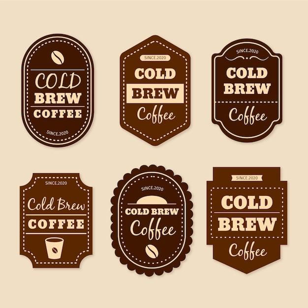 Etichette di caffè freddo Vettore Premium