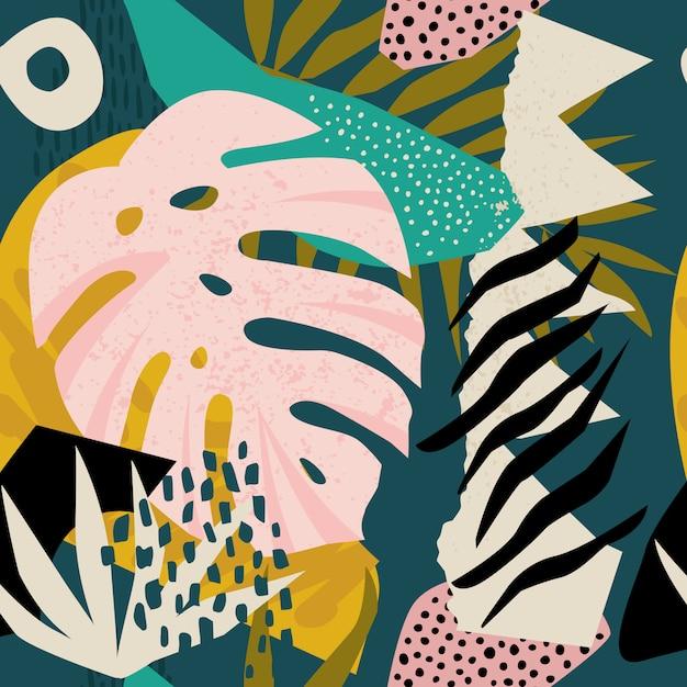 Vettore hawaiano floreale contemporaneo del modello del collage. Vettore Premium