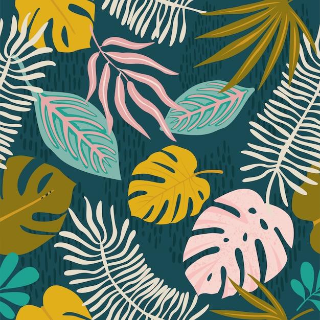 Collage contemporaneo floreale modello hawaiano Vettore Premium