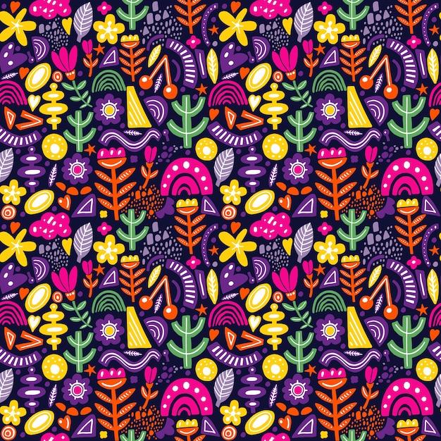 Modello senza cuciture stile collage con forme astratte e organiche in colori vivaci su oscurità. tessuto moderno e originale, carta da regalo, design di arte murale. Vettore Premium