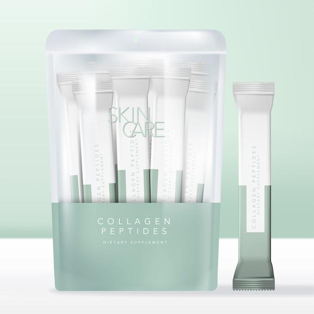 Pacchetti di polvere di peptidi o bevande al collagene in busta semitrasparente con chiusura zip, bustina o confezione. Vettore Premium