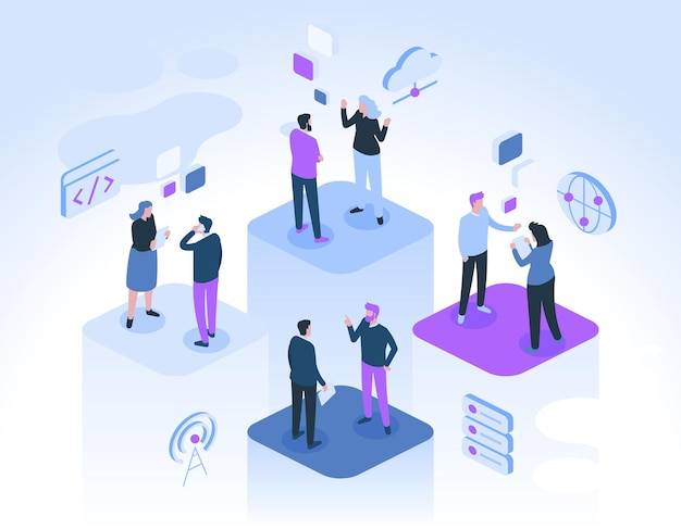 I colleghi comunicano in ufficio. l'uomo e la donna parlano, si consultano, lavorano insieme ai progetti. Vettore Premium