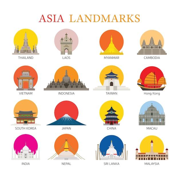 Raccolta di punti di riferimento asiatici Vettore Premium