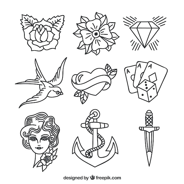 Raccolta di tatuaggi disegnati a mano assortiti Vettore Premium