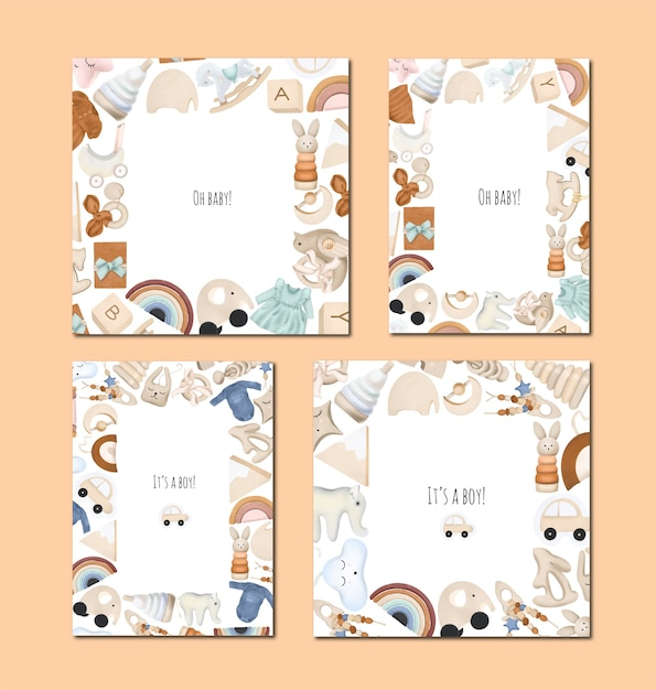 Collezione di carte per baby shower, design per ragazzi e ragazze, cornice di giocattoli in legno, invito di compleanno Vettore Premium