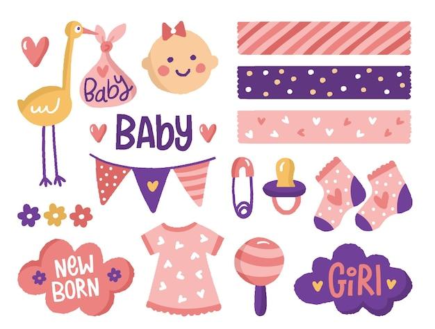 Raccolta di elementi di scrapbook baby shower Vettore Premium