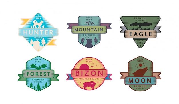 Collezione distintivi animali e natura set emblema Vettore Premium
