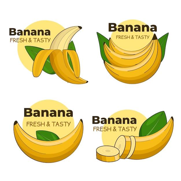 Collezione di loghi di banana con foglie Vettore Premium