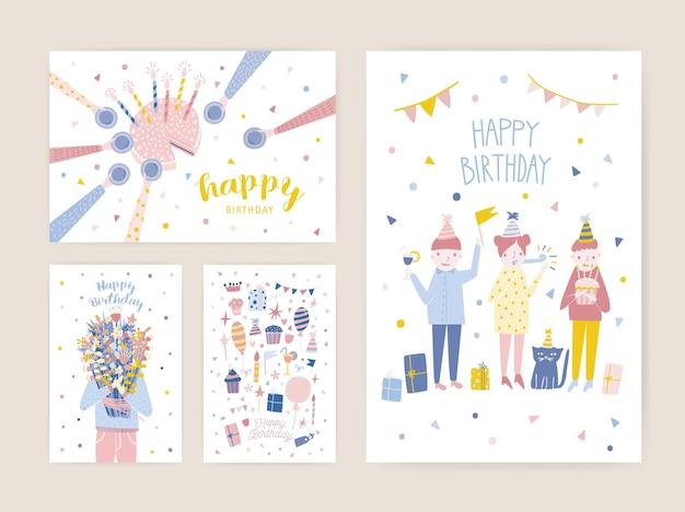 Raccolta di modelli di invito festa di compleanno con persone felici, torta con candele e persona che tiene il mazzo di fiori Vettore Premium