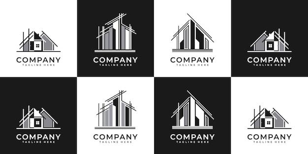 Collezione di set di architettura della costruzione, simboli di design del logo immobiliare. Vettore Premium