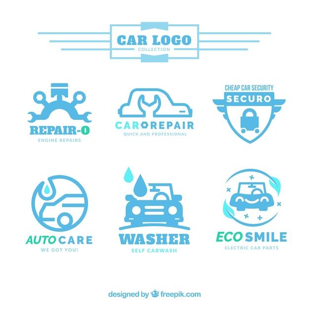 Raccolta di loghi auto in toni di blu Vettore Premium