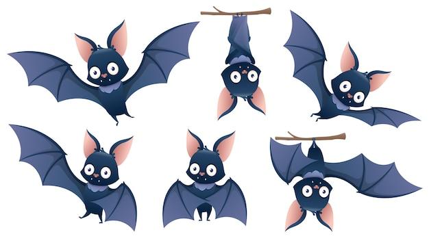 Accumulazione del pipistrello di halloween del fumetto che appende a testa in giù su un ramo Vettore Premium