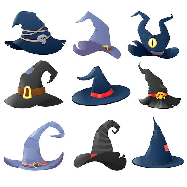 Collezione di cappelli da strega dei cartoni animati Vettore Premium