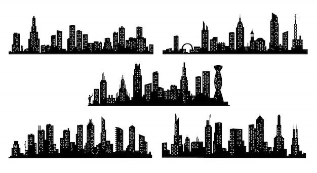 Raccolta di sagome di città. paesaggio urbano moderno. sagoma di edifici di paesaggio urbano su sfondo trasparente. skyline della città con finestre in uno stile piatto Vettore Premium
