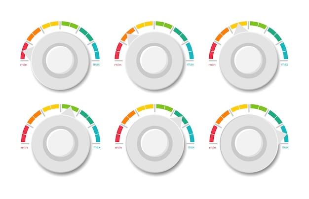 Collezione tachimetri colorati. scala dell'indicatore. Vettore Premium