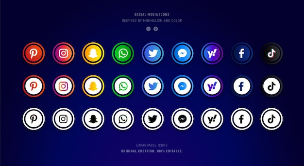 Collezione icone social media colorate e lucide. Vettore Premium