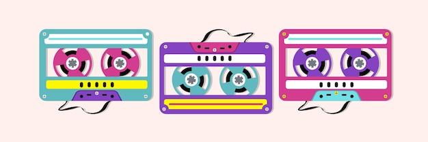 Collezione di cassette audio in plastica colorata Vettore Premium