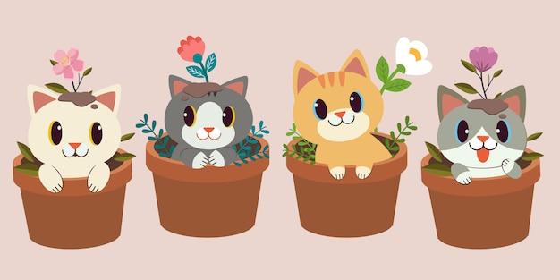 La collezione di simpatici gatti seduti nel vaso con fiori Vettore Premium