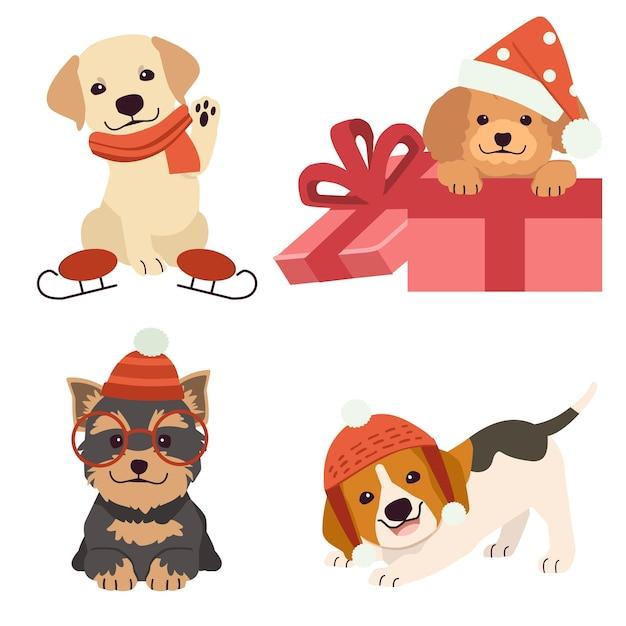 Collezione di simpatici cani per natale e vacanze in stile piatto vettoriale. Vettore Premium