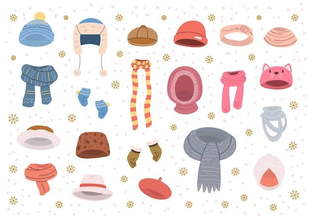 Collezione di cappelli e sciarpe carini per il freddo clima invernale Vettore Premium