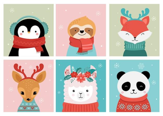 Collezione di simpatici buon natale di panda, volpe, lama, bradipo, gatto e cane Vettore Premium