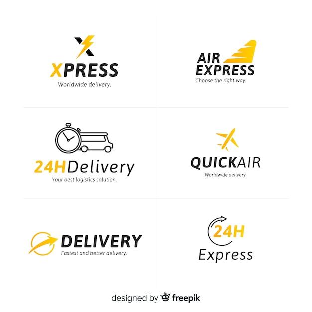 Raccolta di modelli di logo di consegna Vettore Premium