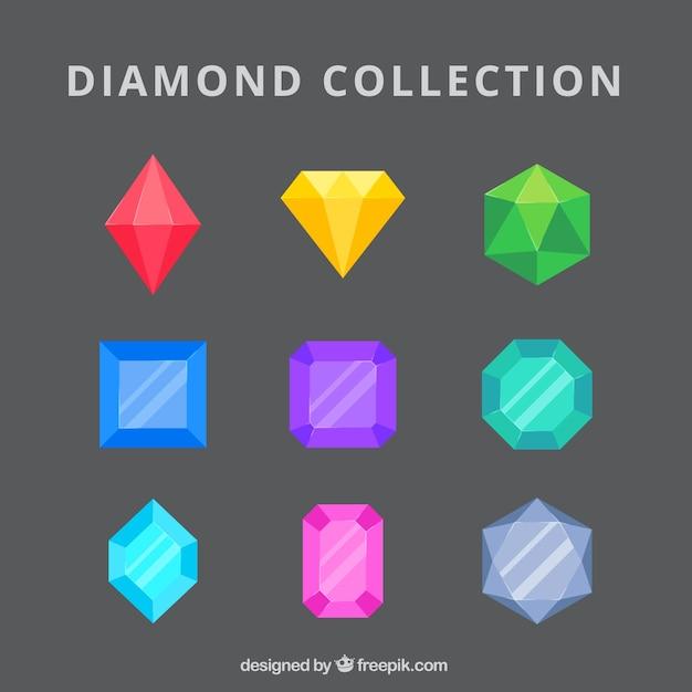 Raccolta di diamanti e smeraldi colorati Vettore Premium