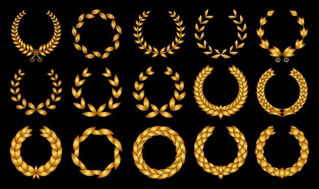 Collezione di diverse corone di alloro circolare foliate, ghirlande di grano e quercia raffiguranti un premio Vettore Premium