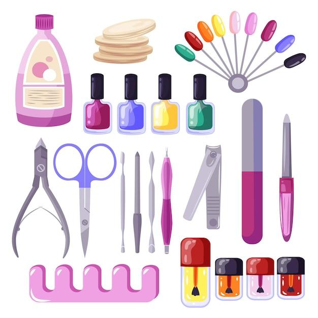 Raccolta di diversi strumenti per manicure Vettore Premium