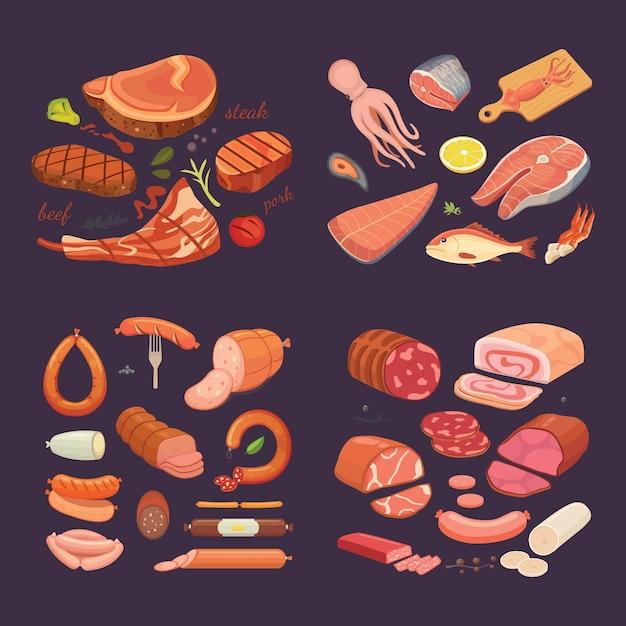 Raccolta di diversi prodotti a base di carne. impostare salsiccia e pesce del fumetto. bistecca di manzo alla griglia. Vettore Premium