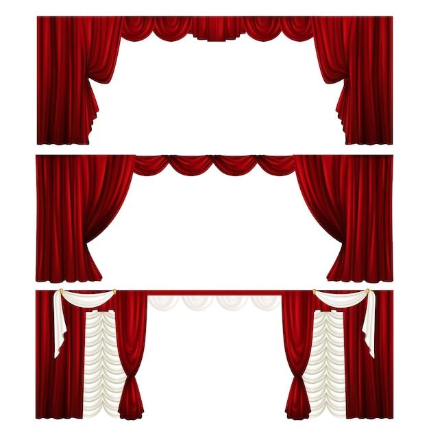 Raccolta di diversi sipari teatrali. tendaggi di velluto rosso. scene. Vettore Premium