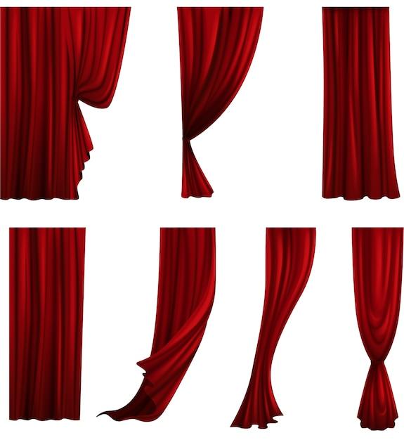 Raccolta di diversi sipari teatrali. tendaggi di velluto rosso. Vettore Premium