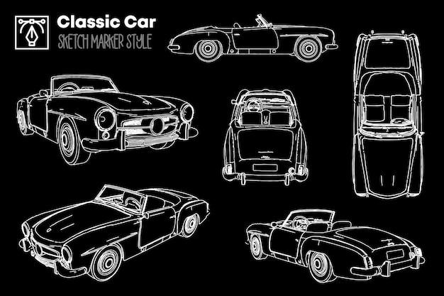 Raccolta di diverse viste di sagome di auto classiche. disegni effetto pennarello. Vettore Premium