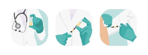 Raccolta di medici che vaccinano Vettore Premium