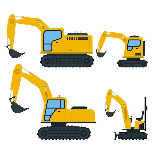 Collezione di escavatori gialli disegnati Vettore Premium