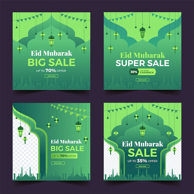 Collezione eid super vendita social media post template banner pubblicitari. Vettore Premium