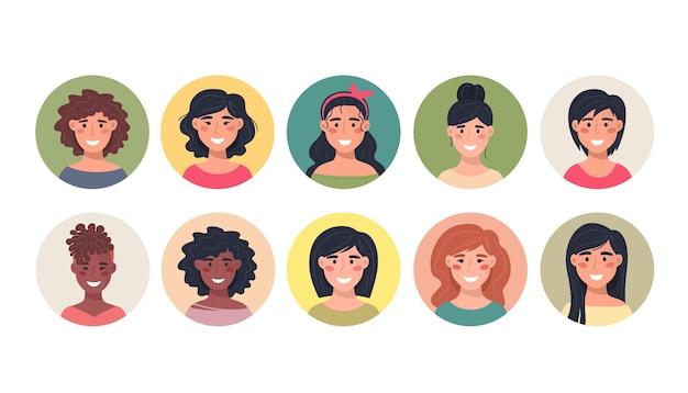 Collezione di avatar femminili in un'icona rotonda Vettore Premium
