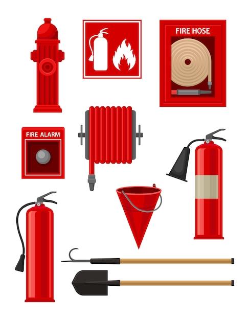 Collezione di articoli antincendio. Vettore Premium