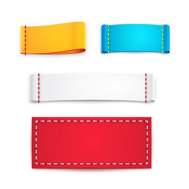 Raccolta di cinque etichette o distintivi vuoti colorati Vettore Premium